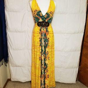 Eci bright multicolor maxi dress size 12